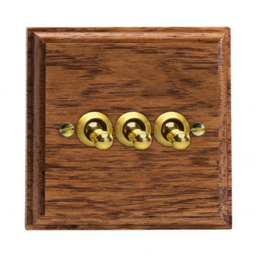 Varilight XKT3MO Kilnwood Medium Oak 3 Gang 10A 1 or 2 Way Toggle Light Switch